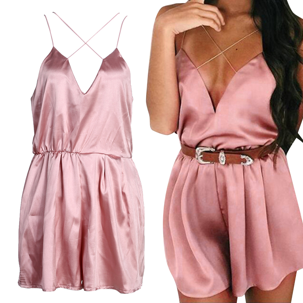 Summer Women Jumpsuits Rompers Elegant Deep V Neck Pink Silk Satin Casual Beach Playsuit Bodysuit Overalls
