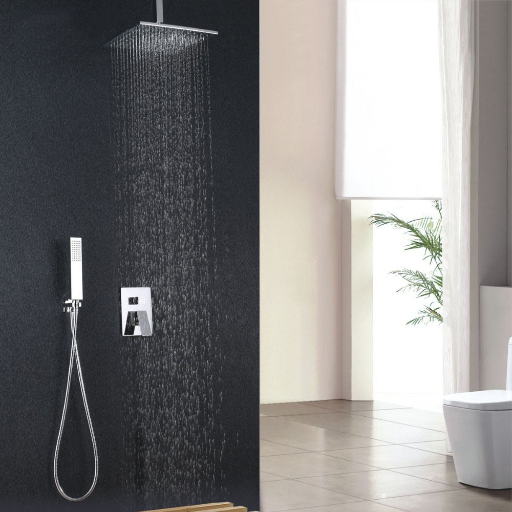 wall mount Shower Set With 10 304 stainless steel ultra thin Shower with brass shower concealed shower set IS011
