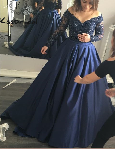 Fashionable Lace Long Sleeve Eevening Dresses robe de soiree longue 2018 Satin A-line Prom Dress Dark Blue