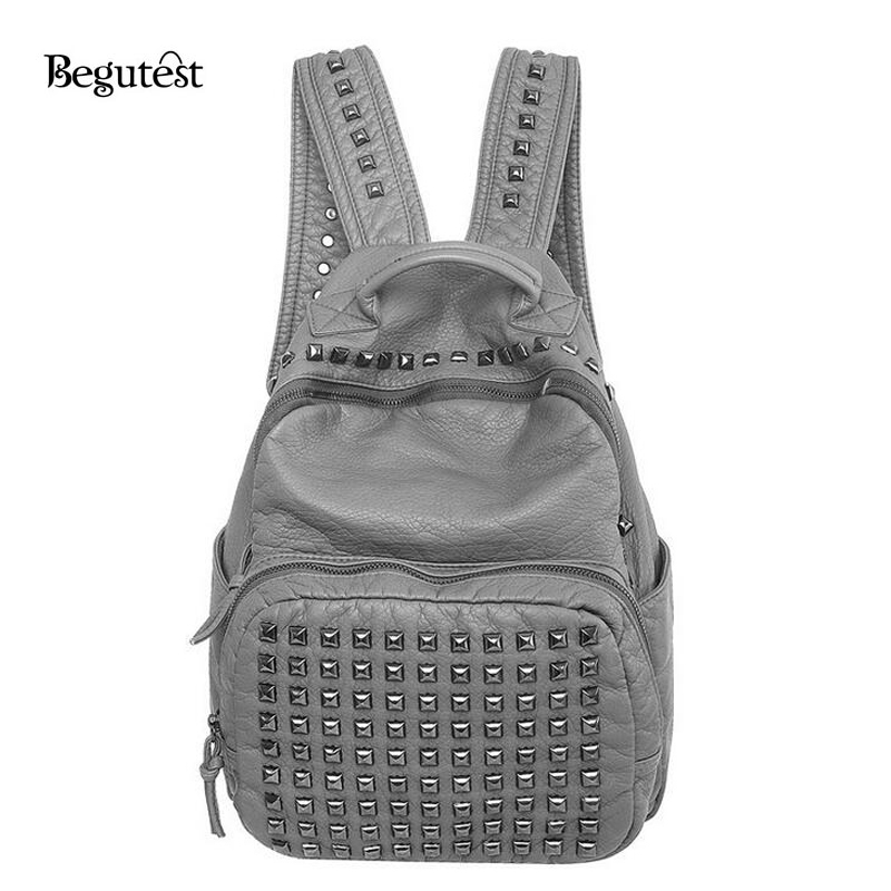 2016 Women s Backpacks Luxury Brand Designer PU Leather Rivet School Bag For Teenage Girls Women