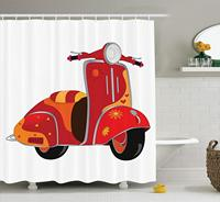 Vintage Decor Shower Curtain, Scooter Classical Caricature for Hippies Urban Memories Youth Contemporary Art