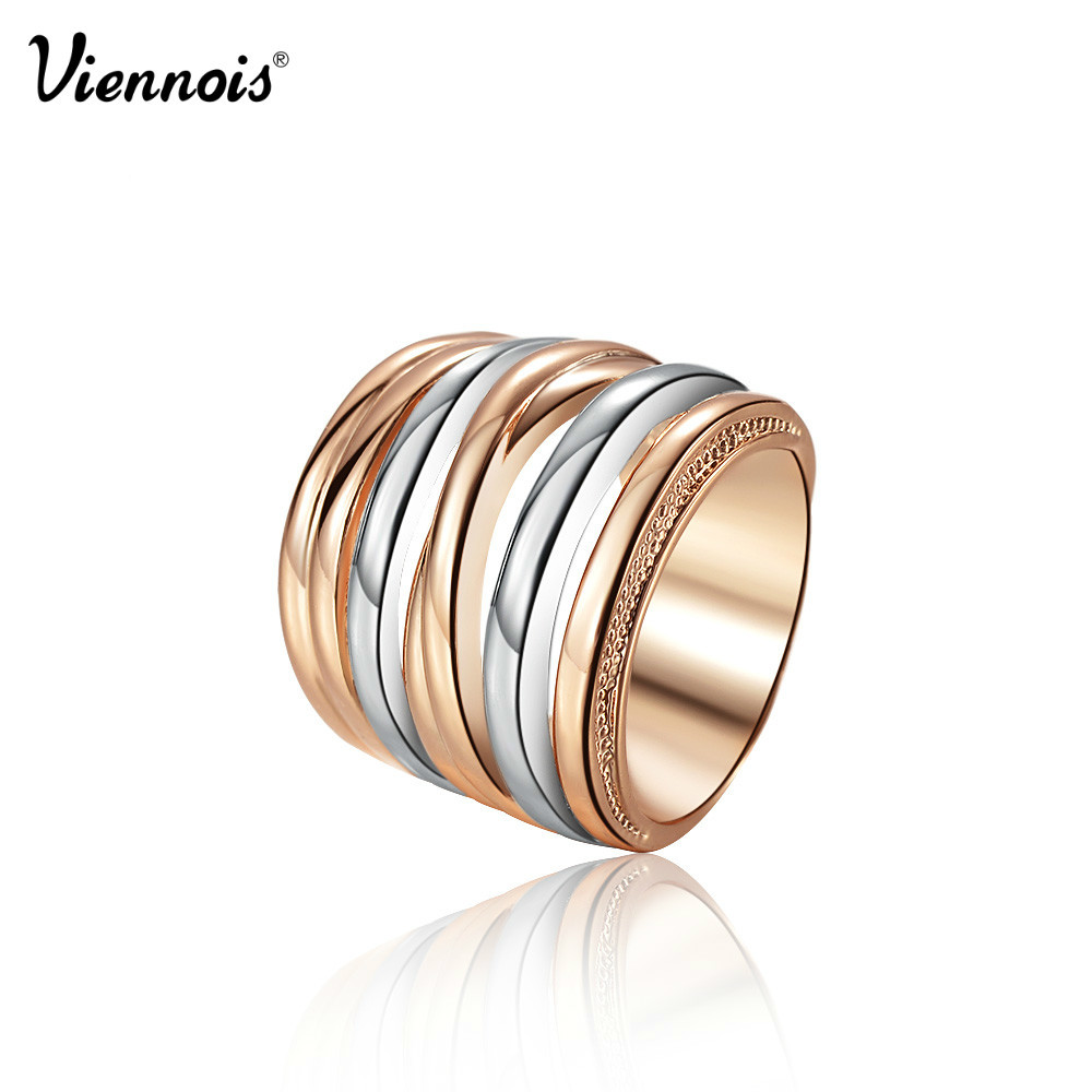 Viennois Rose Gold Color High Quality Alloy Finger Ring For Women Classic Size Ring exquisite gemstone embellished women s vivid alloy finger ring