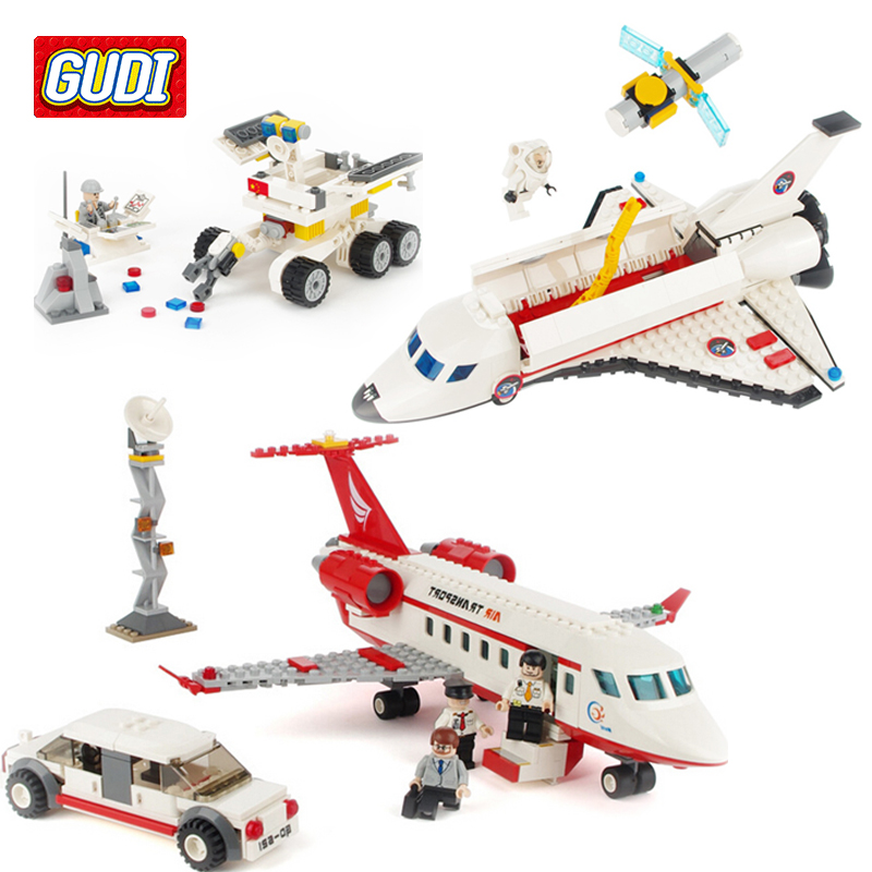 GUDI Space Travel Blocks Toys for Children Educational Assembled Model Space Shuttle Airplane Building Kits Blocks Toy Boy Kid lepin 16014 1230pcs space shuttle expedition model building kits set blocks bricks compatible with lego gift kid children toy