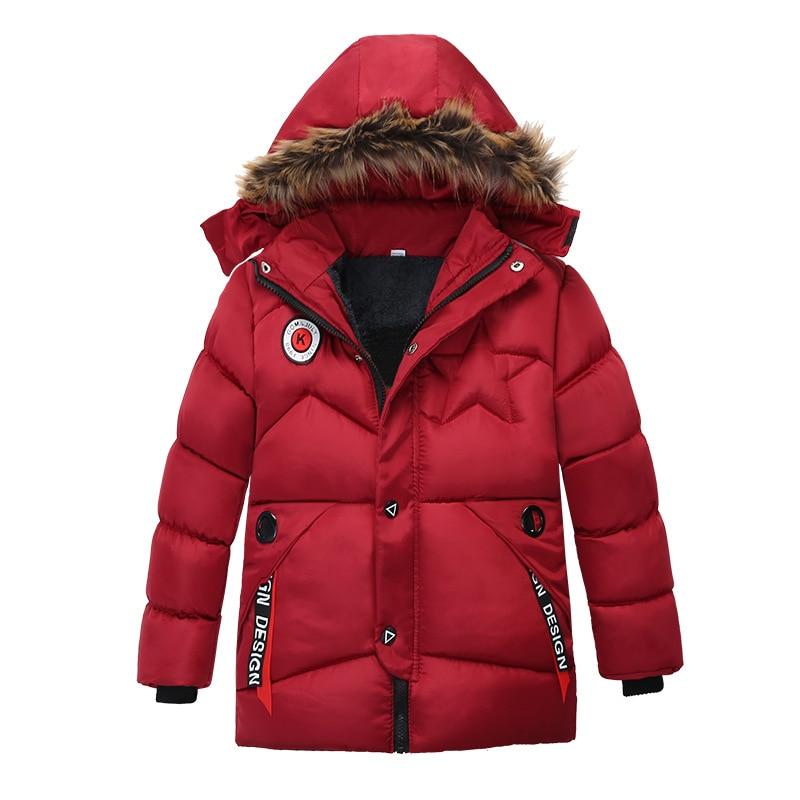 Image 3 - Winter Warm Thickening Fur Collar Long Child Coat Children Outerwear Windproof Fleece Liner Baby Boys Jackets For 100 120cmDown & Parkas   -