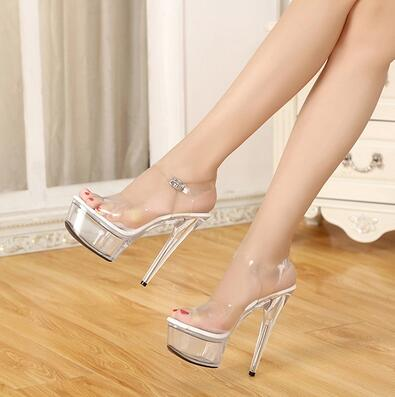 Women Shoes High Quality Female Model T Station Catwalk Sexy Crystal Transparent Shoes 15CM High Heels Waterproof Head Sandals стоимость