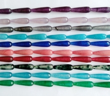 Long Faceted Bead Mixed Color Jad e Beads 8x25mm Faceted Teardrop Semi Stone Jewelry Beads,16″/string
