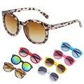 Moda infantil meninos meninas doce cor óculos redondos óculos de sol eyewear 7 cores frias 1 pcs crianças bebê leopardo óculos de sol