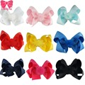 "Fashion 4"" Candy Color Handmade Ribbon Alligator Hair Bow Baby Girl Bows With Clips Top Mosaic Pompom  Hair Accessories 9Pcs/Lot"