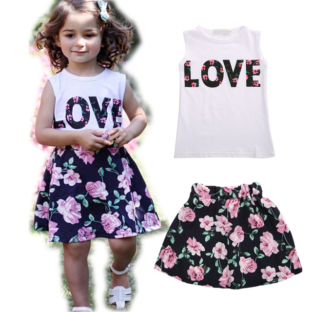 8630676299 Children Girl Clothing Set White Sleeveless T-Shirt Floral Skirt Summer Baby  Girl Fluffy Skirt Cotton Girl Vest 2pcs Streetwear