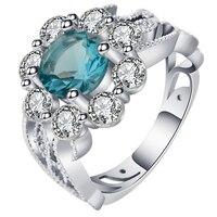 UFOORO New elegant trendy jewelry ring for women wedding unquite desgin twig winding round flower CZ stone ring female bague
