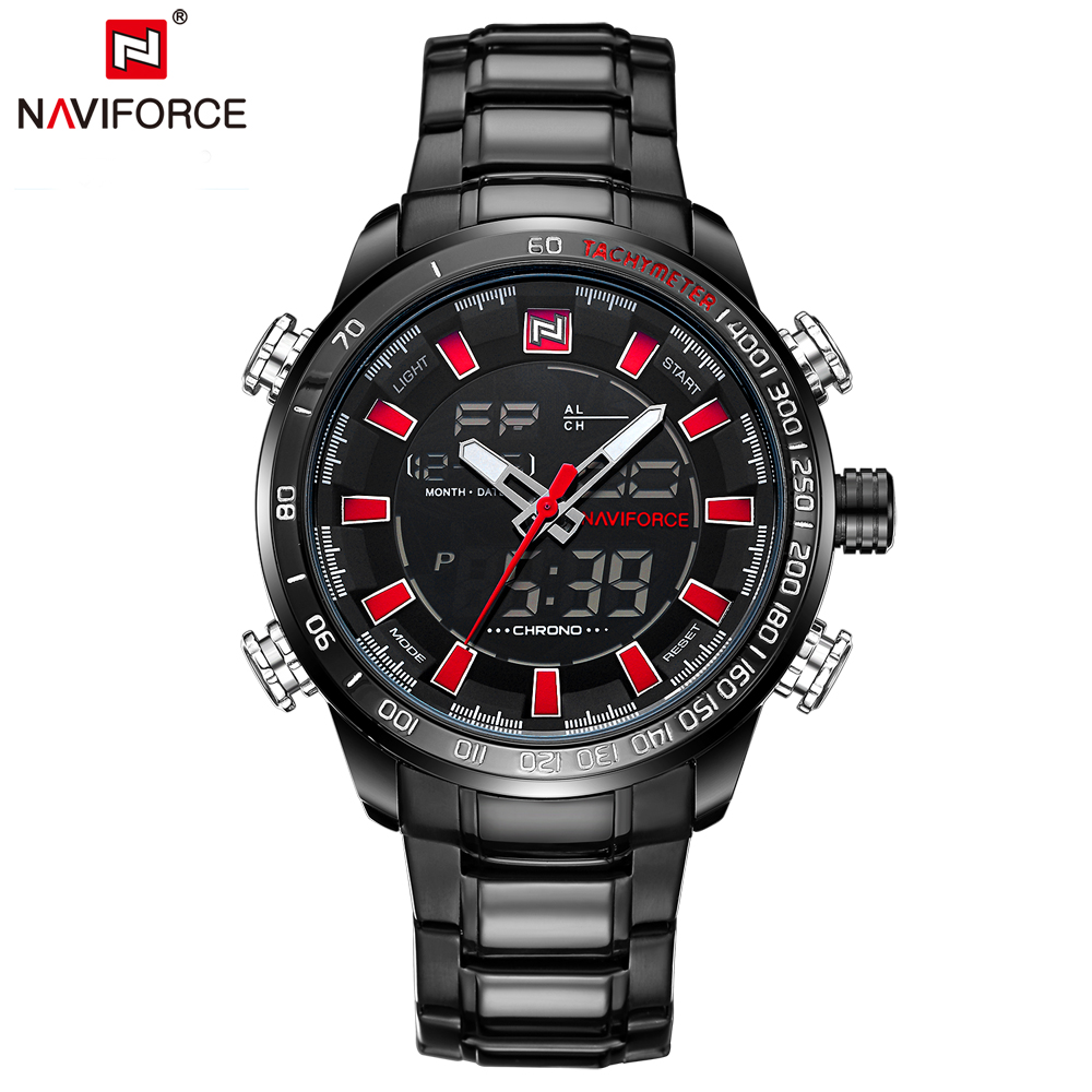 цена NAVIFORCE Luxury Brand Men Military Sport Watches Men's Digital Quartz Clock Full Steel Waterproof Wrist Watch Relogio Masculino