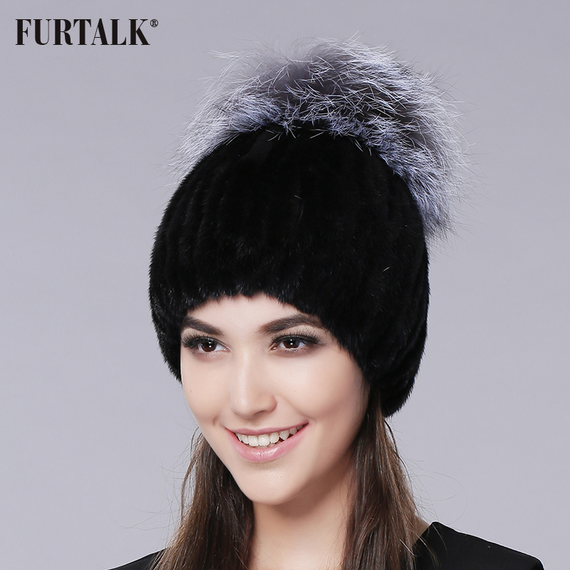 FURTALK Winter Mink Fur Beanie Hat Women Knitted Fur Pompom Hat Luxury Band Warm Female Winter Hat Cap with Silver Fox Fur Pom