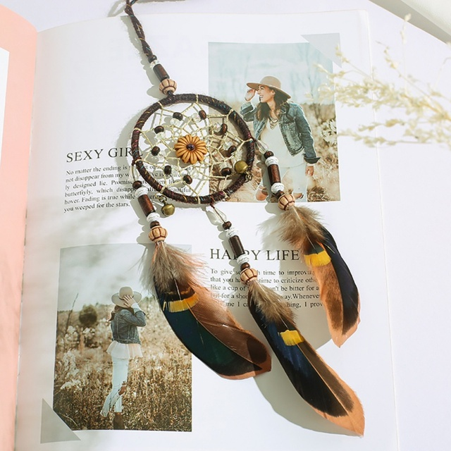 Cute Retro Feather Dream Catcher Vintage Home Decoration Circular Feathers Wall Hanging Dreamcatchers Decor For Car