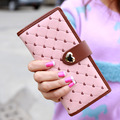 New Arrive lovely women wallets,student coin purse,lady's long wallets, PU leather heart Plaid design candy color Clutch.