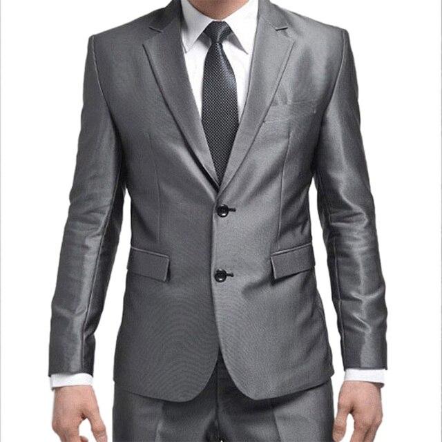 Formal Custom Mens Suits New Best Man Suit Silver Grey Wedding ...