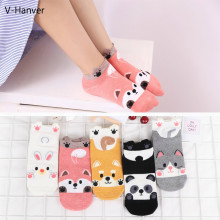 Fashion Cartoon Animal Patterned Short Socks Women Cute Panda Funny Low Socks Female Casual Cotton 3D Ankle Socks Thin Summer(China)