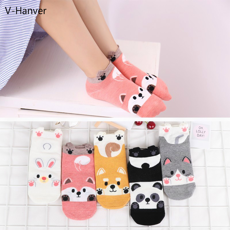 Fashion Cartoon Animal Patterned Short   Socks   Women Cute Panda Funny Low   Socks   Female Casual Cotton 3D Ankle   Socks   Thin Summer