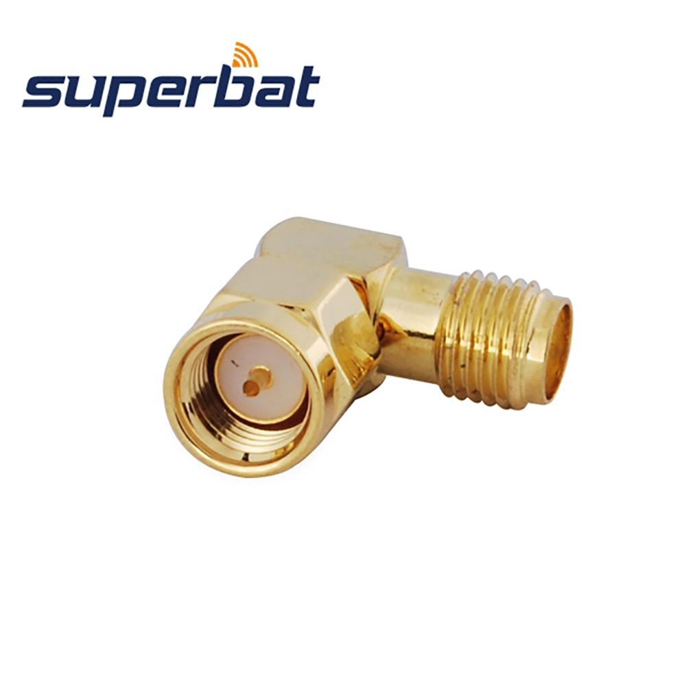 Superbat 5 Pcs SMA RF Adapter SMA Male Plug To SMA Female Jack Right Angle Coaxial Connector