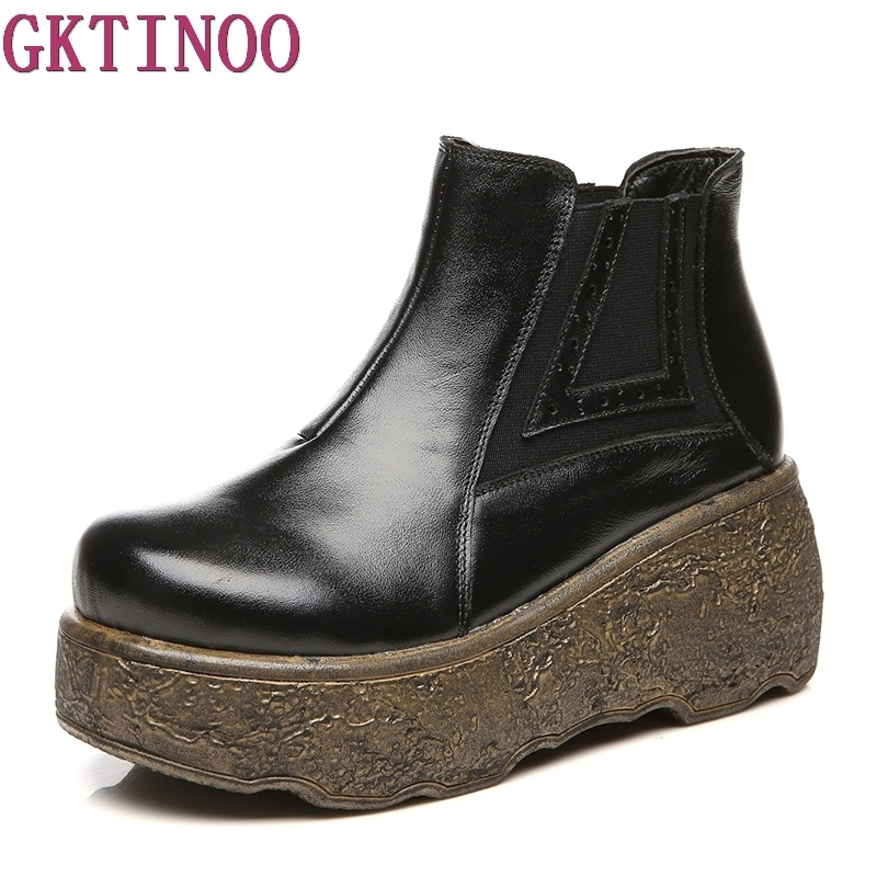 2019 New Wedges Women Boots Fashion High heeled Platform Ankle Boots Genuine Leather High Heels Spring