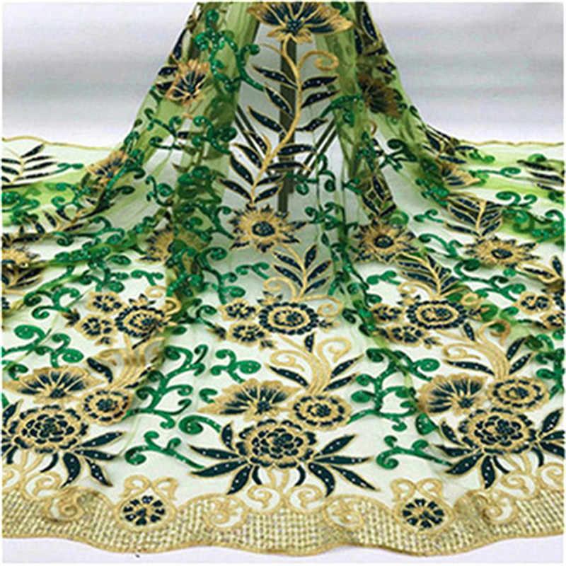 Красивый Дизайн бисера вышитые сетчатые кружева ткань для женщин вечернее платье Кружева Африканский Золотой гипюр в виде камушков сеточный кружевной материал