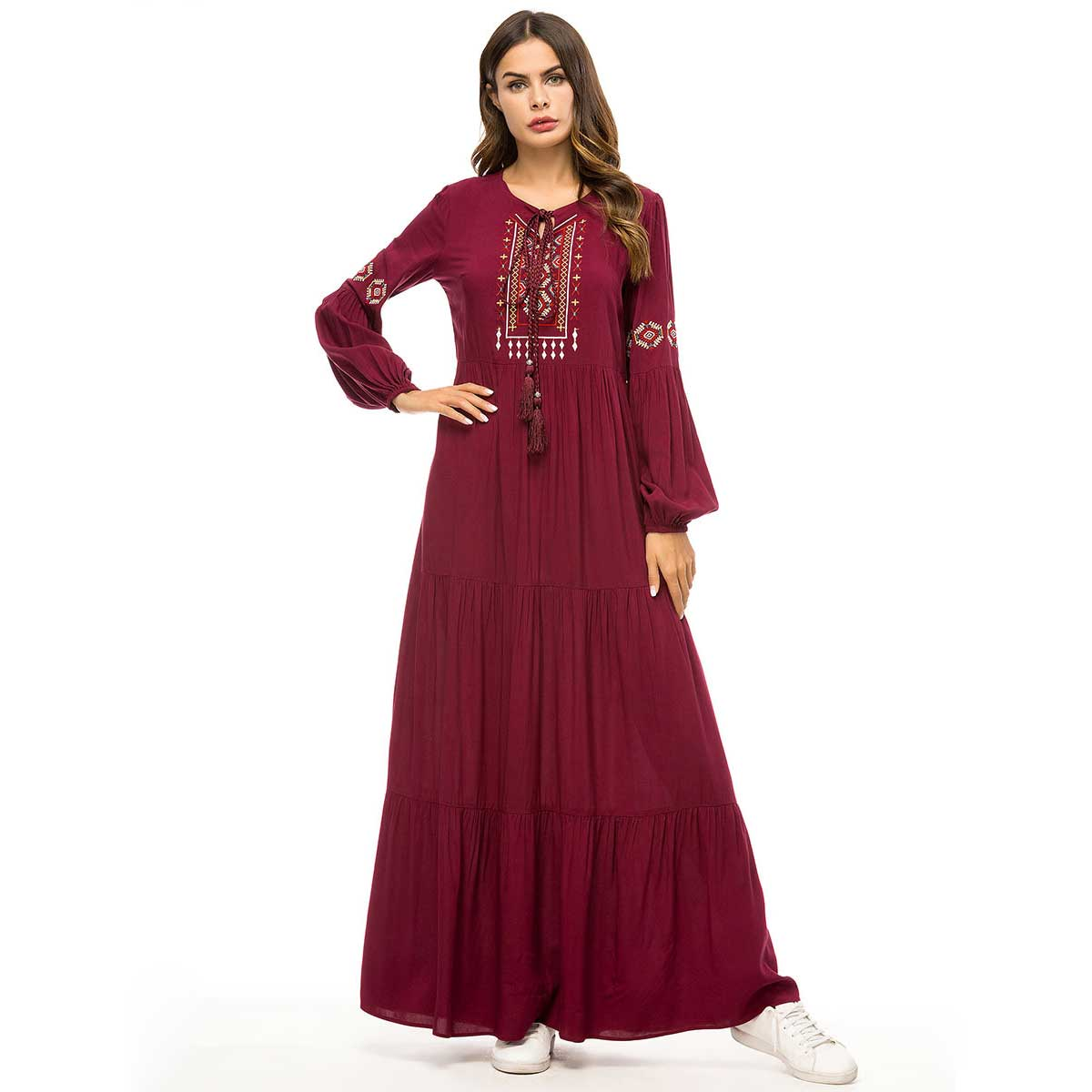 2019 Retro Ethnic Embroidery Maxi Dress Oversized Women Muslim Abaya Arabic Dubai Islamic UAE Pleated Robe Plus Size VKDR1447