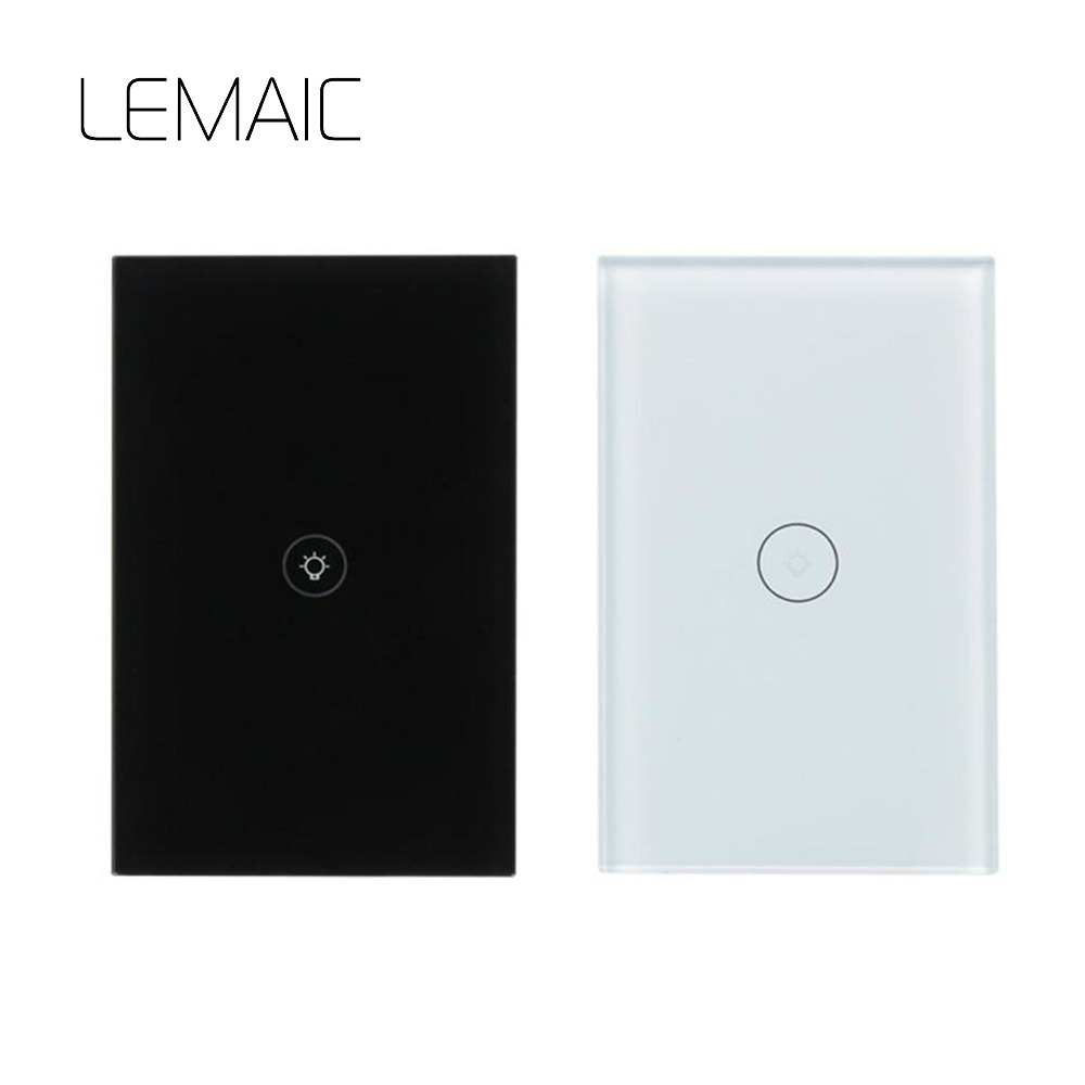 LEMAIC Smart Switch Light 1 Way Remote Control wifi Wireless Key Wall Switch work with Smart Home Light Wall Glass Panel Touch k1rf ltech one way touch switch panel ac200 240v input can work with vk remote page 1
