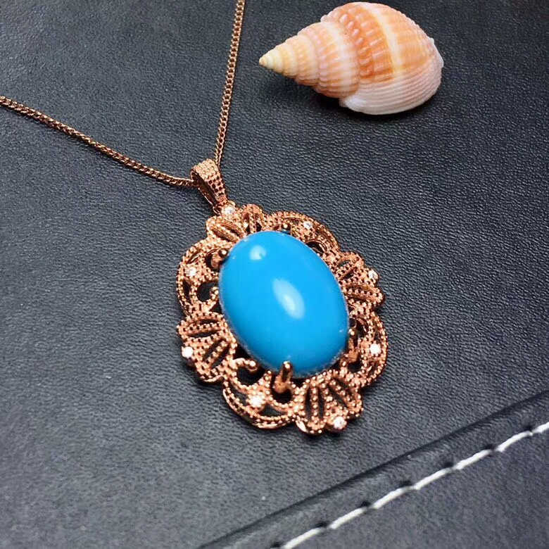 [MeiBaPJ Natural Turquoise Gemstone Trendy Pendant Necklace for Women Real 925 Sterling Silver Charm Fine Jewelry 2 Colors