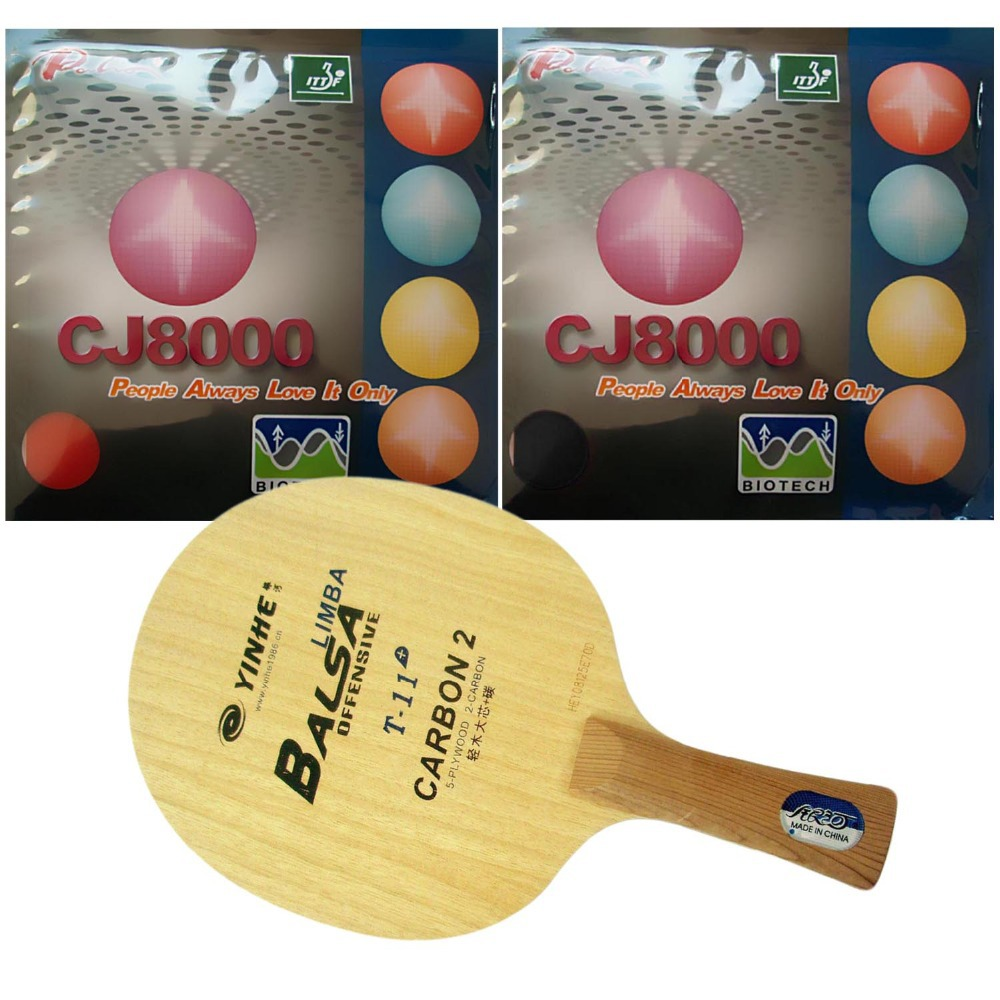 Combo Racket: Galaxy YINHE T-11+ with 2x Palio CJ8000 (BIOTECH) 2-Side Loop Type (H36-38) shakehand Long Handle FL