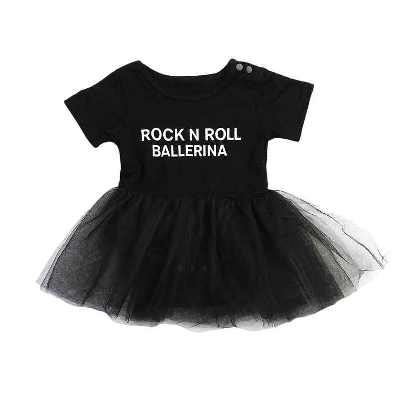 Infant Toddler Sơ Sinh Bé Gái Tulle Rock N Roll Romper Dress Playsuit Ngắn Tay Áo Sunsuit Outfits Set 0-3 T