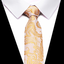8cm Width Brand New Classic Solid Color Striped Ties For Men Jacquard Woven 100% Silk Tie Wedding Party Mens Necktie gold