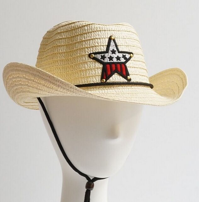 Summer Boys Girls Cowboy Straw Hat With Star Kids Children UV Protection Sun Hat  10pcs/lot  Free shipping