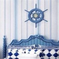 Beibehang Đơn Giản dọc sọc hình nền cuộn phong cách Địa Trung Hải sống trẻ em phòng ngủ phòng 3d hình nền cho bức tường
