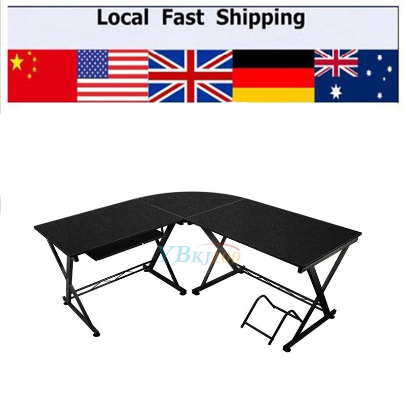 lshaped computer pc table home study office furniture corner desk workstation black color