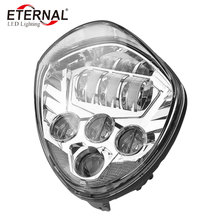 60W 12V LED motorcycle headlamp black/chrome headlamp for Victory motorcycle cross road Cross Country CRUISERS 2007-2016 for victory motorcycles headlight head light led headlamp hi lo high low lamp 6500k for victory cross country motorcycle