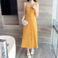 2018 Korean Version Of The New Summer Dress And Long Sections Slim Waist Harness Dress Small