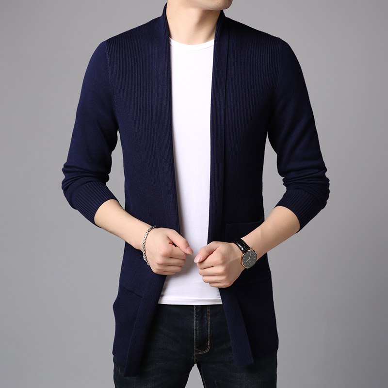 Image 4 - 2020 New Fashion Brand Sweater For Mens Cardigan Long Slim Fit  Jumpers Knitred Overcoat Autumn Korean Style Casual Men  ClothesCardigans