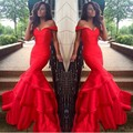 Mermaid Red Evening Dresses Sexy Off the Shoulder Party Gowns Tiered Elegant Robe de Soiree 2016 Vestido De Fiesta
