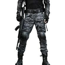Тактическая Экипировка боевые брюки охотничьи военные карго камуфляж страйкбол брюки мужские с наколенниками брюки армии США