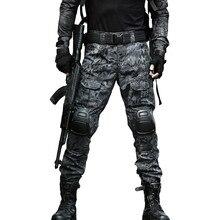 Тактический Экипировка охотничьи армейские брюки военные Грузовой Камуфляж страйкбол брюки мужские с наколенниками брюки армии США брюки