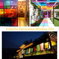 1.52x20m Colorful Window Film Self Adhesive Glass Stickers Decorative Home Decor Mixed Color 60''x65.6ft Wholesale