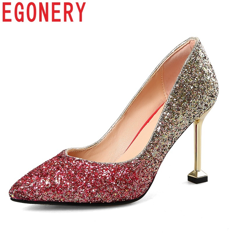 EGONERY women shoes new fashion sequined cloth pointed toe super high thin heels wedding shoes slip-on shallow two colors pumps
