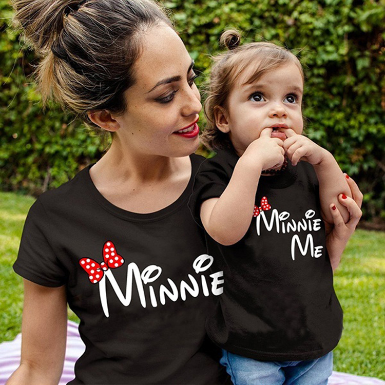 Bow Mother Daughter Matching T Shirts Family Look Mommy And Me Clothes Mom Mum Mama And Baby Girls Tshirt Dresses Family Outfits
