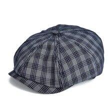 VOBOOM темно-синяя плоская кепка, Мужская большая клетчатая кепка Newsboy, хлопковая кепка s, летняя дышащая Кепка Glof 103