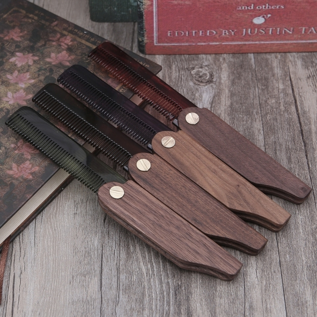 US $4 51 22% OFF|1 Set New Fashion Beard Comb Walnut Handle Comb Acetate  Folding Pocket Moustache Comb Beauty Hot-in Combs from Beauty & Health on