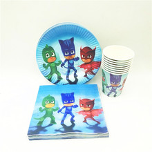 40pc/set Theme Cup/Plate/Napkin PJ Mask Party Supplies For Kids Event Birthday Party Decorations PJ Mask Party Favors