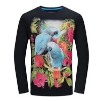 Creative Design 3d Birds Print T Shirt Men Spring Autumn Fashion Big Size Tops Casual Long