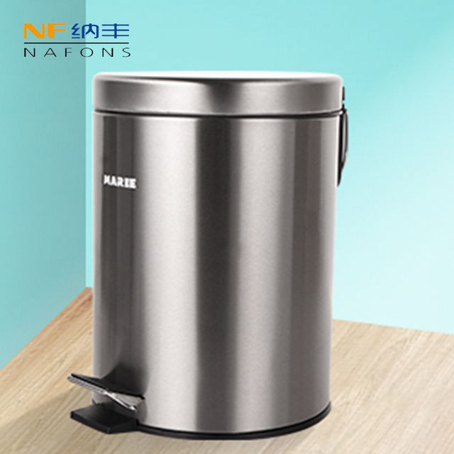 Round Bins Stainless Steel Rubbish Can Foot Pedal Type Dustbin Eco