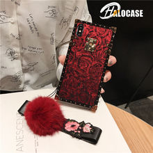 New Fashion Luxury Frosted Rose Pattern Lanyard Phone Case For iPhone 11 Pro Max 6 6s 7 8 Plus X XS XR MAX Cover FUNNDA