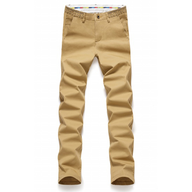 Men's Casual Cotton Pants Slim Straight Fit Chinos Fashion Suit Pants for 6 Colors