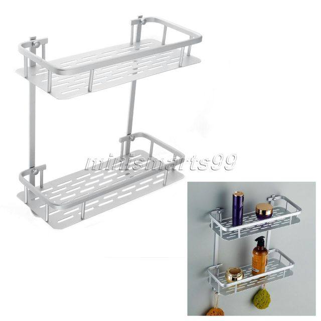 Fashion Aluminium Double Wall Corner Bathroom Shelf Shower Shampoo Soap Organizer Storage Holder Basket Rack
